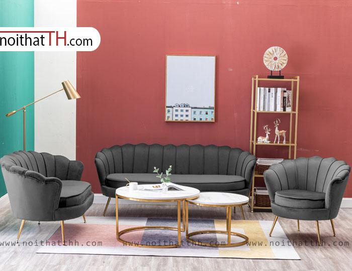 Bộ sofa văng tân cổ điển màu xám