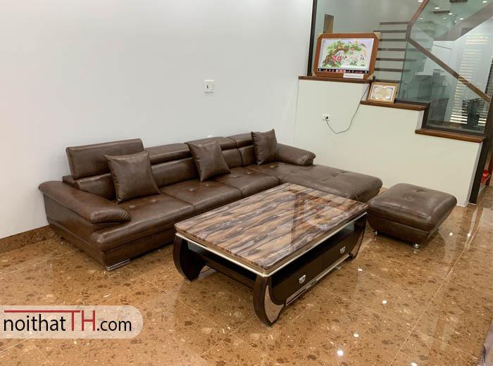 Sofa da màu nâu giá rẻ hải phòng